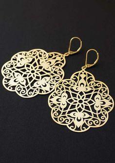 Big Gold Filigree Fashion Earrings from EarringsNation