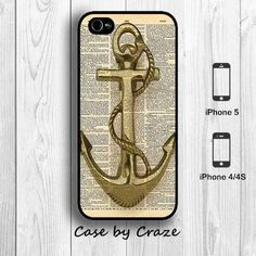 Anchor Sailor Vintage iPhone 5 Case iPhone 4S Case Dictionary Art Designer iPhone 5 Back Cover #Etsy #accessories #iphone #art #design