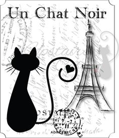 Un Chat Noir  Vintage Style Printable Graphics  by UpstairsCats