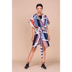 Geometric Print Kimono Vest from ACURRATOR Geometrical digital print Straight cut Stripes lining Waist cordPinched cat sleeves Geometric Swarovski Details Color: multi Made In: United Kingdom Shipped From: United Kingdom Lead Time: 3 - 4 Days Clothing For Tall Women, Clothes For Women, Dress Outfits, Fall Outfits, Dresses, Coat Dress, Slow Fashion, Striped Dress, Beachwear