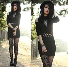 Romwe Tied Off Shoulder Dress, Zara Necklace, H&M Lace Tights, Jeffrey Campbell Litas