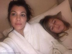Family night:Kourtney Kardashian posted a photo on Instagram of her snuggled up with Penelope who was wearing a lip ring