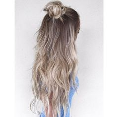 long ash blonde hair with half up topknot