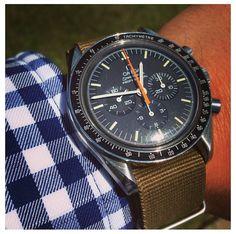 Omega Speedmaster Professional w/ brown NATO strap.