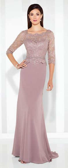 Chiffon slim A-line gown with hand-beaded scalloped lace illusion three-quarter length sleeves and scalloped Sabrina neckline, beaded sweetheart bodice with scalloped peplum waistline, lace illusion back, sweep train.
