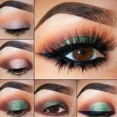 Green on brown eyes