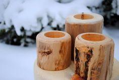 Aspen log candle holders