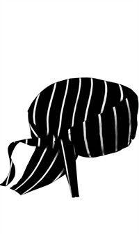 Style # 3400CSB: Bandanas de chef - Negras con rayas gruesas