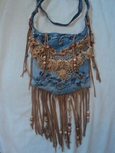 (263) Handmade Denim CrossBody Bag Boho Hippie Purse Beaded Leather Fringe Lace tmyers Handmade Handbags & Accessories - amzn.to/2iLR27v Clothing, Shoes & Jewelry - Women - handmade handbags & accessories - http://amzn.to/2kdX3h7