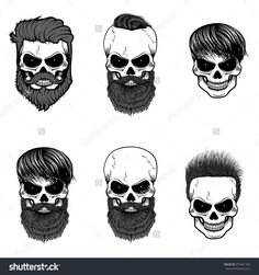 Set of bearded skulls. skulls with beard and hair. Vector design elements for label, logo, emblem, poster, t-shirt print template.