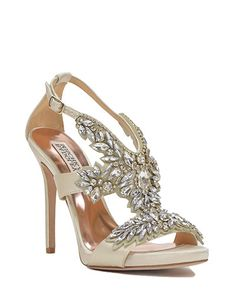 Badgley Mischka Capella Embellished T-Strap Evening Shoe available in April