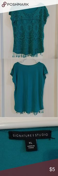 Women's Signature Studio Top with Fringe size XL Size XL Green Women's top by Signature Studio Front has crochet layer with fringe hanging from bottom.  Only worn a handful of times. Tops Blouses