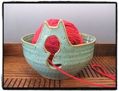 Yarn Bowl with Cute Cat in Turquoise by misunrie by misunrie