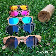 Lentes hechos de madera y bambú! Fabricados en México con corte láser y terminados a mano y amigables con la naturaleza por su elaboración y degradación. Protección UV 400. Incluyen estuche y microfibra. Solo en Magenta
