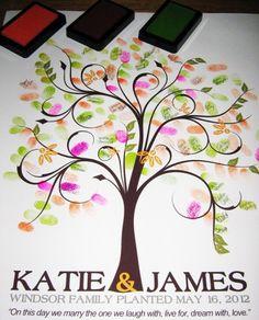 20x24 WEDDING TREE guest book fingerprint tree guest book love birds | OnesieStickers - Wedding on ArtFire