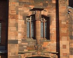 Decorated stonework around window of Queen's Cross Church