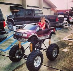 Raising kids the redneck way. Jacked Up Trucks, Big Trucks, Ford Trucks, Kids Wagon, Redneck Humor, Power Wheels, Go Kart, Raising Kids, Country Girls