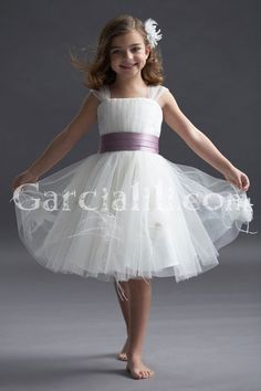 $79.99 A-line Straps Tulle Tea-length Flower Girl Dress With Feather Flowers On Skirt