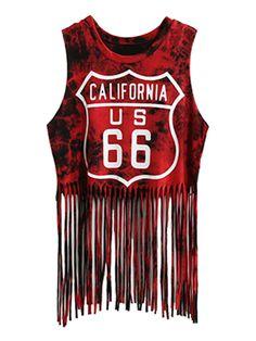 Red Tie Dye Letter And No.66 Print Tasseled Hem Crop Vest