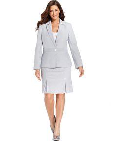 Le Suit Plus Size Seersucker Blazer & Pleated-Hem Skirt - Plus Size Suits & Separates - Plus Sizes - Macys
