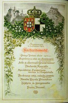 Família Real Portuguesa: EMENTA DO CASAMENTO D'EL-REI DOM MANUEL II, com a princesa Augusta de Hohenzollern, no Castelo de Sigmaringen, Alemanha