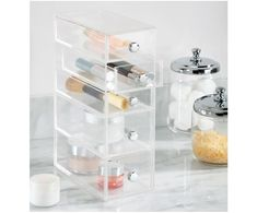 InterDesign Clarity Cosmetic Organizer for Vanity Cabinet to Hold Makeup, Beauty Products - 5 Drawers, Clear Countertop Organization, Bathroom Organisation, Bathroom Storage, Small Bathroom, Bathroom Ideas, Bathrooms, Neutral Bathroom, Vanity Bathroom, Bathroom Inspiration