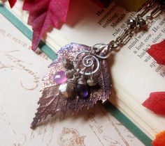 Sylvan Leaves- Real Birch Leaf in Faery Twilight Patina - Pyrite, Chalcedony, and Amethyst