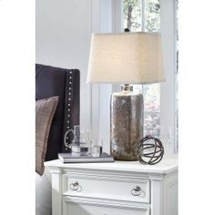 Bowery Hill Glass Table Lamp - Table Lamps - Ideas of Table Lamps Rustic Table Lamps, Bedside Table Lamps, Bedroom Lamps, Desk Lamp, Living Room Modern, Living Spaces, Steampunk House, Table Lamp Shades, Oil Lamps