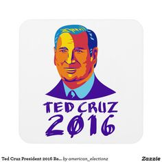 Ted Cruz President 2016 Retro Drink Coasters. Illustration showing Rafael Edward Ted Cruz, an American senator, politician and Republican 2016 presidential candidate done in retro style with words Cruz 2016. #Cruz2016 #republican #americanelections #elections #vote2016 #election2016
