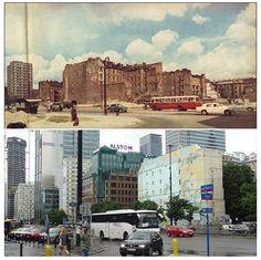 """Corner of John Paul II Alley and Złota Street 1967 vs 2015 via: FB Group """"Warszawy historia ukryta - spacery"""" #warsaw #history"""