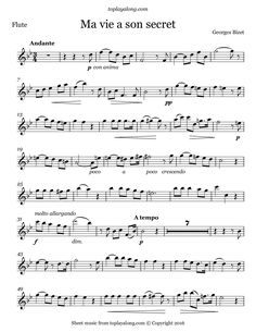 Free flute sheet music for Ma vie a son secret by Bizet with backing tracks to play along.