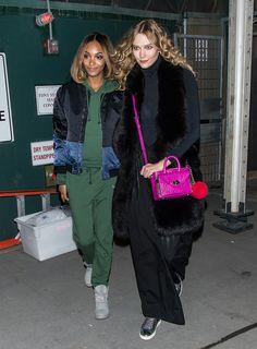 Jourdan Dunn and Karlie Kloss wearing a DVF bag.