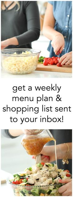 get a weekly menu plan filled with family friendly recipes and a shopping list sent
