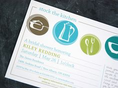 Stock the Kitchen Wedding Shower invitation, plus matching 5x3 recipe cards. $2.25, via Etsy.