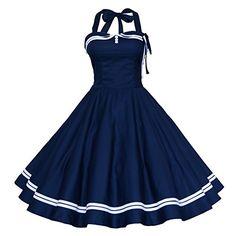 Maggie Tang Women's 1950s Halter Vintage Rockabilly Dress Size M Color Navy Blue Maggie Tang http://www.amazon.com/dp/B00K5NVIYO/ref=cm_sw_r_pi_dp_SZdkwb1MM9P88