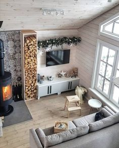 My Living Room, Living Spaces, Living Room Decor Inspiration, Home Fireplace, Wooden House, Home Hacks, Home Decor Furniture, My Dream Home, Sweet Home