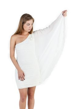 Mała Biała Ślubna Sukienka. #vintagedress #lace One Shoulder Wedding Dress, Shoulder Dress, Malaga, Boho, Wedding Dresses, Fashion, Bride Dresses, Moda, Bridal Gowns
