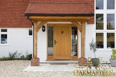 Porches - Oak porches - made to order. Simple but effective brace work on an open oak frame porch will enhance the entrance to your home. Oak Front Door, Front Door Porch, Porch Doors, Front Porch Design, Back Doors, Front Door Canopy Uk, Brick Porch, Porch Designs, Front Porches