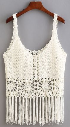 Hollow Fringe Tank Top. Take it to beach!