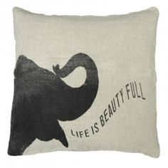 Life Is Beauty Full Elephant Throw Pillow