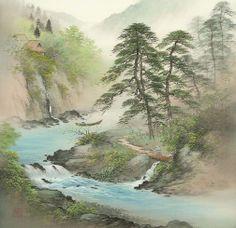 Arts of Koukei Kojima - tuantruong Asian Landscape, Chinese Landscape Painting, Japanese Landscape, Japanese Painting, Chinese Painting, Chinese Art, Landscape Paintings, Chinese Brush, Oil Paintings