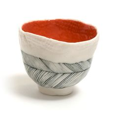 feather pattern sake/green tea cup-golden link colaborative