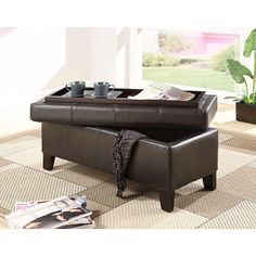 OTTOMAN with STORAGE SPACE Bench leather MODERN furniture Coffee Table Home Bin #Modern