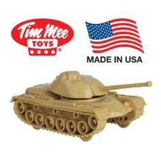 TimMee Tan M48 Patton Tank: Military Vehicle for 2 inch (54mm) Plastic Army Men - Made in the USA! by Tim Mee. $8.80. Color: Tan. TimMee M48 Patton Tank. Packaging: Plain Plastic Bag. Size: 6.5 inches long (including gun). Scale: Approximately 1:48. An American Classic is available once again! This Tim Mee #729 M48 Patton Tank was manufactured in the last days of the great American toy company, Processed Plastic (Tim Mee's parent company). The tank featues a turret that r...