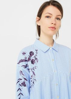 Embroidered shirt dress -  Woman | MANGO United Arab Emirates