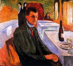 Сегодня день рождения Эдварда Мунка (1863—1944). («Автопортрет с бутылкой вина». 1906 г. Холст, масло.120,5х110,5 см. Музей Мунка.)