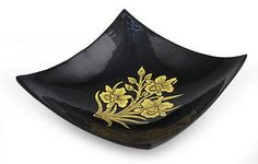 Lacquered wood decorative bowl, 'Golden Thai Orchids' by NOVICA