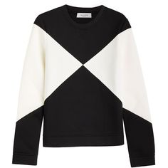 Valentino Two-Tone Sweatshirt featuring polyvore women's fashion clothing tops hoodies sweatshirts sweaters sweatshirt valentino multicolor graphic tops colorful sweatshirts black and white sweatshirt slimming tops two tone sweatshirt