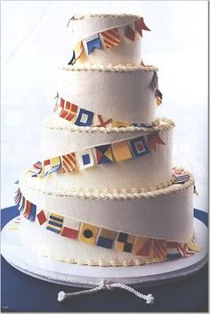 Nautical flag cake
