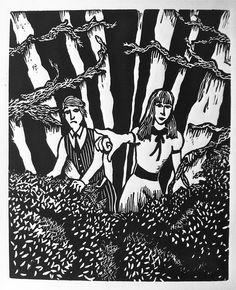 Hansel & Gretel. Linoleum Print. 2013.